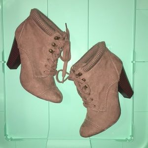 Forever 21 Lace Up Tan Ankle Booties